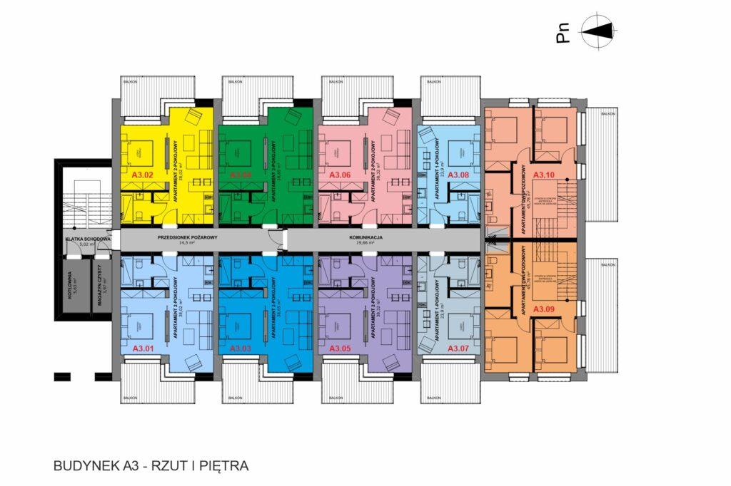 Rzut budynku apartamenty inwestycyjne nad morzem a3 I piętro