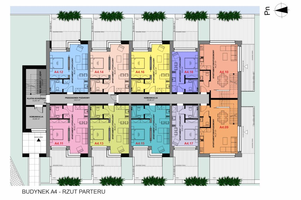 Rzut budynku apartamenty inwestycyjne nad morzem a4 parter